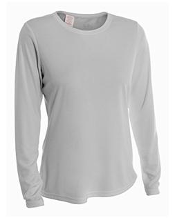 A4 Women's Cooling Performance Crew Long Sleeve T-Shirt, Sil