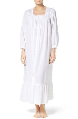 Women's Eileen West Cotton Nightgown, Size Small - White