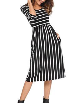 Halife Women's Crew Neck Striped Loose Swing T Shirt Tunic P