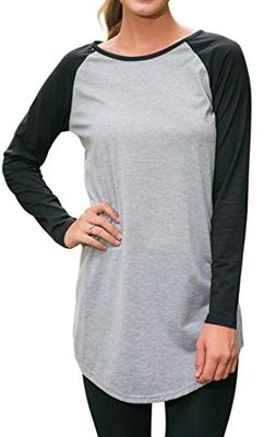 Halife Women's Crewneck Raglan Sleeve Long T-shirt Tunics To