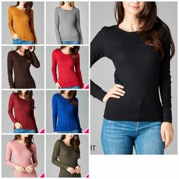 Women Thermal Crew Neck Long Sleeve Basic Top T-Shirt Solid