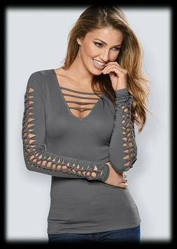 cut out detail long sleeve top in