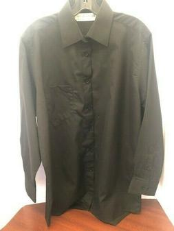 "DRESS SHIRTS, MEN'S REGULAR FIT ""NEW"" LONG SLEEVE, BLACK"