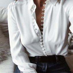 Elegant Women OL Shirt Long Sleeve Turn-down Collar Button B