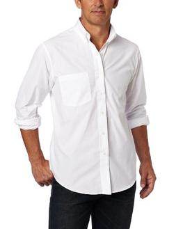 IZOD Men's Essential Solid Long Sleeve Shirt, White, 4X-Larg