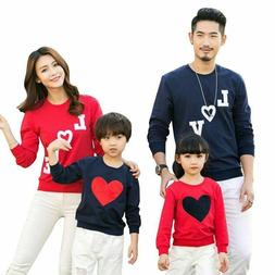 Family Matching Clothes Mom Dad Baby Love Long-Sleeve Cotton