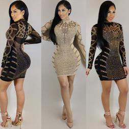 Fashion Hot Drilling Long Sleeve Bodycon Cocktail Party Dres