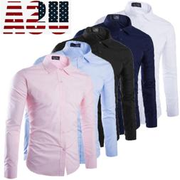Fashion Men's Luxury Long Sleeve Shirt Casual Slim Fit Styli