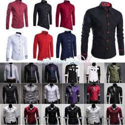 Fashion Men's Luxury Slim Fit Casual Shirts Long Sleeve Form