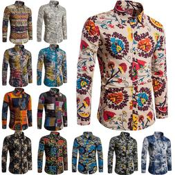 Fashion Mens Summer Casual Dress Shirt Boho Floral Long Slee