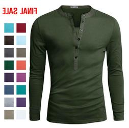 Doublju Mens Basic Slim Fit Long Sleeve Henley Shirts