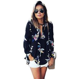 TOPUNDER Womens Floral Printing Loose Long Sleeve Chiffon T