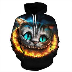 Funny Shinny Cheshire Cat Print 3D Hoodie Long Sleeve Hooded