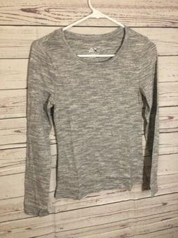 Justice Girls Long sleeve Shirt Top Grey / White Size 8 Ston
