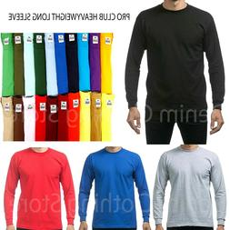 Pro Club Heavy Cotton Long Sleeve Crew Neck T Shirt Mens Bla