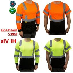 Hi Vis ANSI Class 3 Safety Shirt  Moisture Wicking Mesh Long