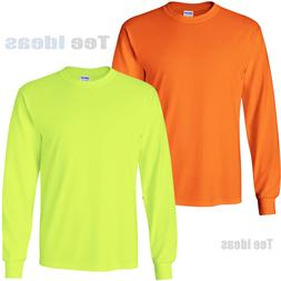 Gildan High Visibility Long Sleeve T-Shirts Safety Green and