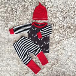 Infant Baby Boys Striped Long Sleeve Tops T-shirt+Pants +Hat