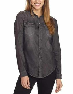 Calvin Klein Jeans Women's Long Sleeve Denim Button Down Shi