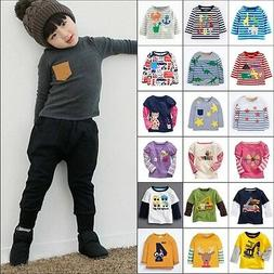 Kids Baby Boys Girls Long Sleeve T-shirt Cartoon Cotton Tops