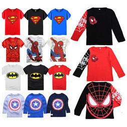 Kids Boys Marvel Superman T-Shirt Superhero Cartoon Shirts T
