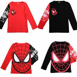 Kids Boys Spiderman Superhero T-Shirt Long Sleeve Crew Neck