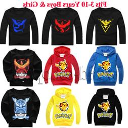 Kids Cartoon Pokemon Boy Girl Pullover Hoodire T-Shirt Sweat