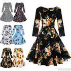 1950S 60s Vintage Rockabilly Women Swing Dress Floral Printe