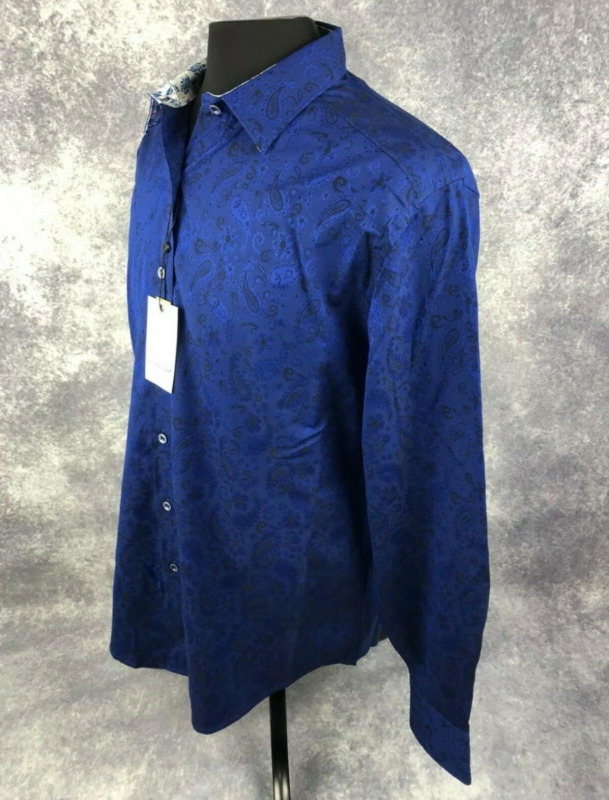 Robert Graham 2XL Shirt Mens Navy Classic Sleeve $188