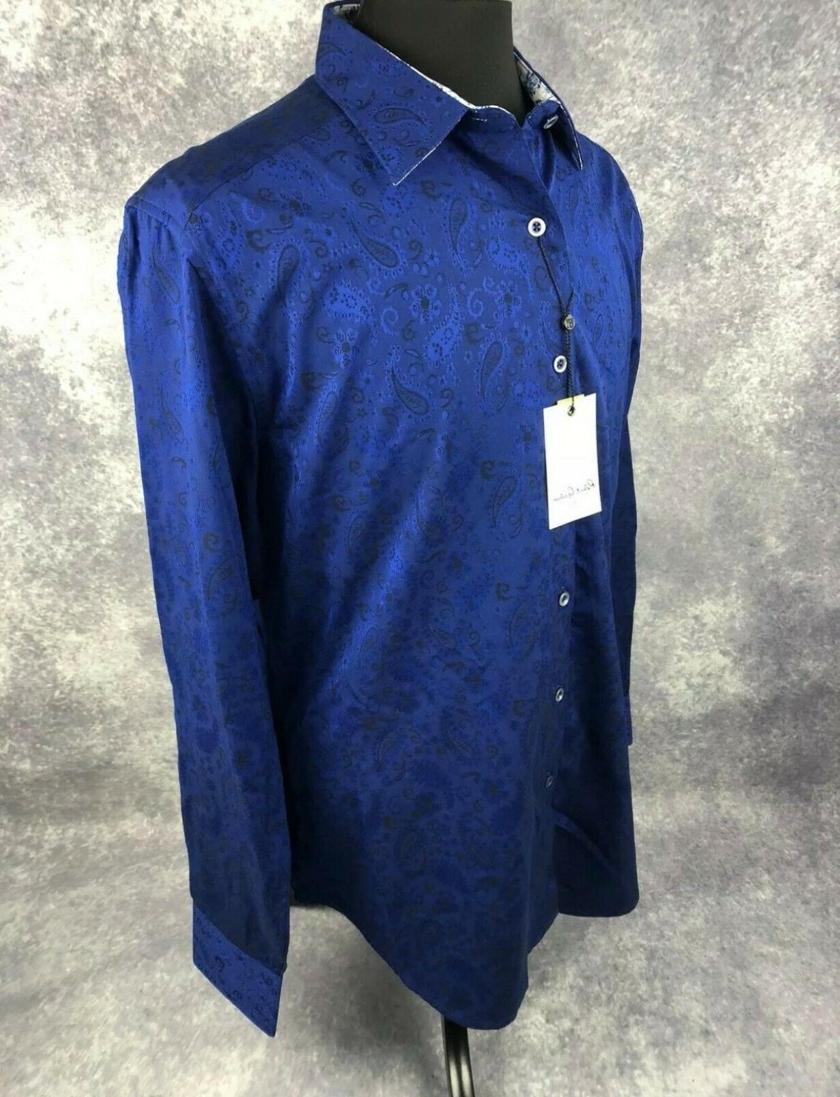 Robert 2XL Mens Paisley Navy Classic Long Sleeve New $188