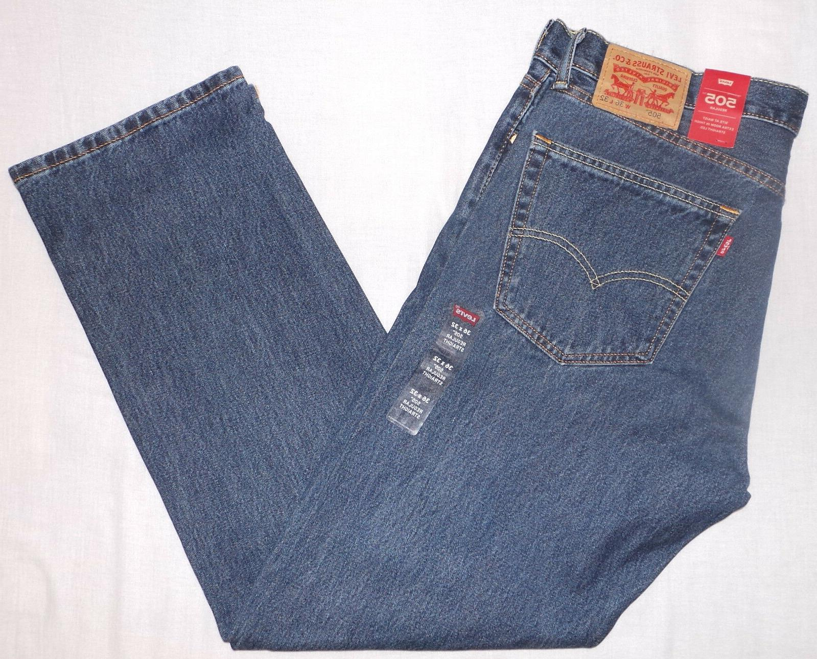 Levi's Men's 505 Regular Fit-Jeans, Dark Stonewash, 36W x 32