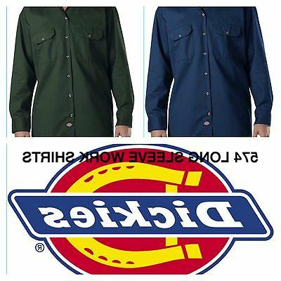 DICKIES 574 LONG SLEEVE BUTTON UP WORK SHIRTS MENS SIZE S 4X