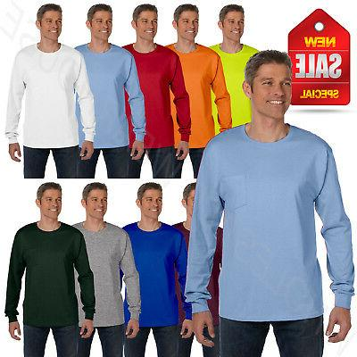 Hanes 6.1 oz Heavy Tagless 100% Cotton Long Sleeve Pocket BI
