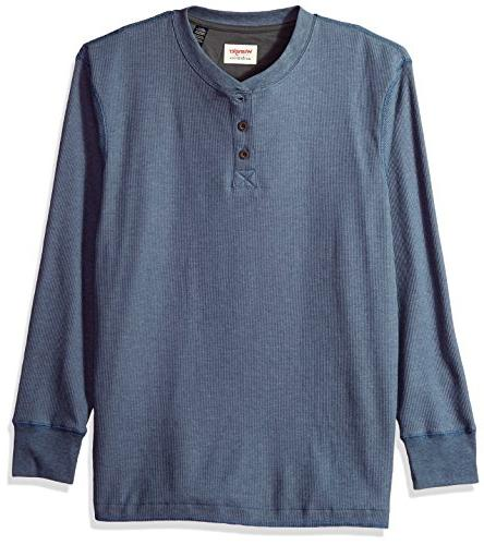 authentics men s long sleeve waffle henley