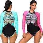 Aztec print rashguard long sleeve 1 piece swimsuit swimming