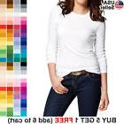 Basic Crew Neck T Shirt Solid Plain Top Layer Stretch Fitted