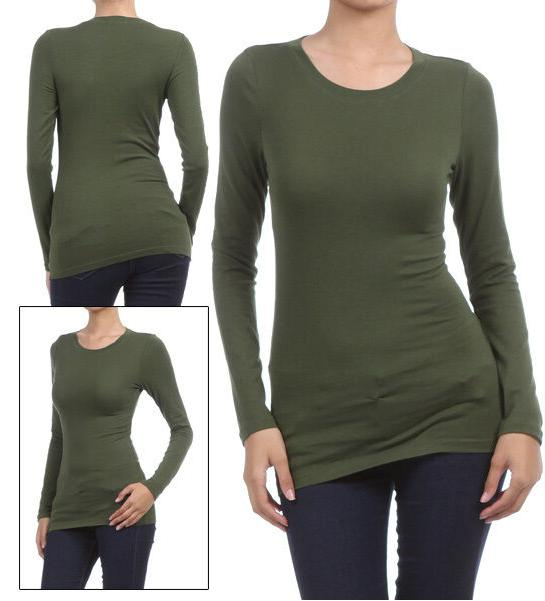 basic long sleeve solid top womens plain