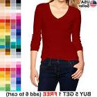 Basic V-Neck T Shirt Plain Solid Color Top Stretch Layer Fit