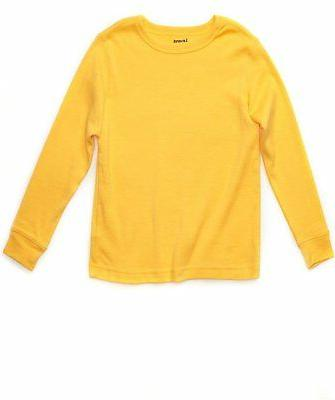 Leveret Boys Girls Yellow Long Sleeve Solid T-Shirt 100% Cot