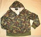 Boys Hoodie Jacket BRIGHT GREEN CAMOUFLAGE Sherpa Lined 8 Po