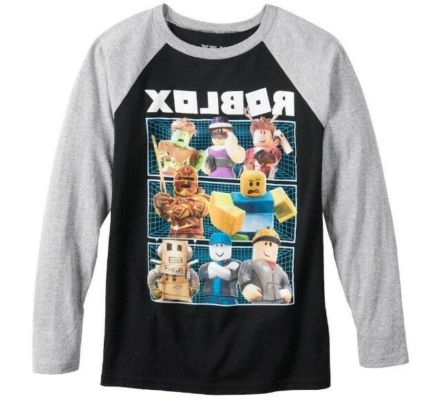 Boys Roblox Long Sleeve Characters Top Tee T-Shirt Black & G