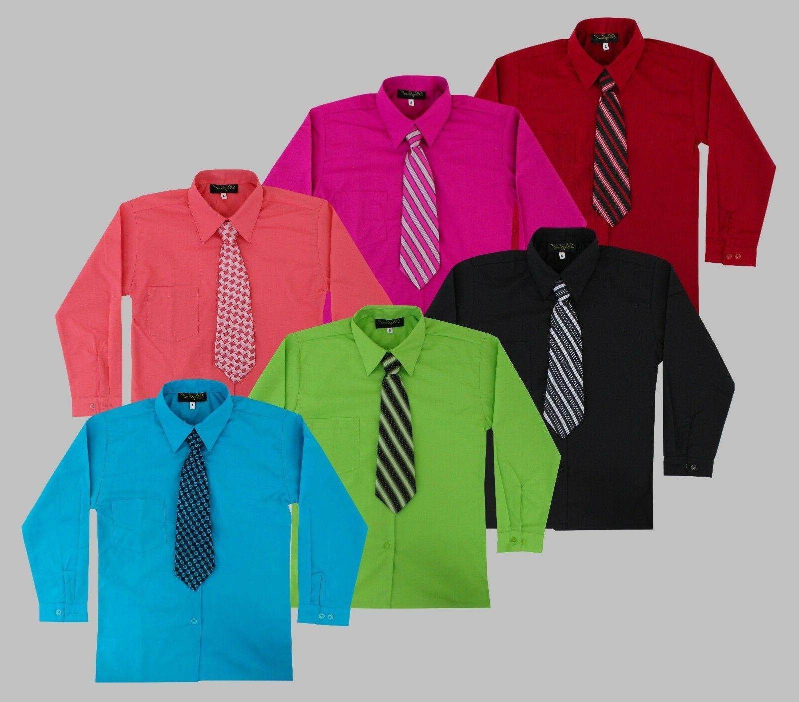 Boys Long Sleeve Dress Shirt with Matching Tie Set Size 2T-1