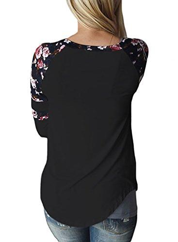 Astylish Casual Long Sleeve Floral Print T-Shirts Striped Blouse Tops Large