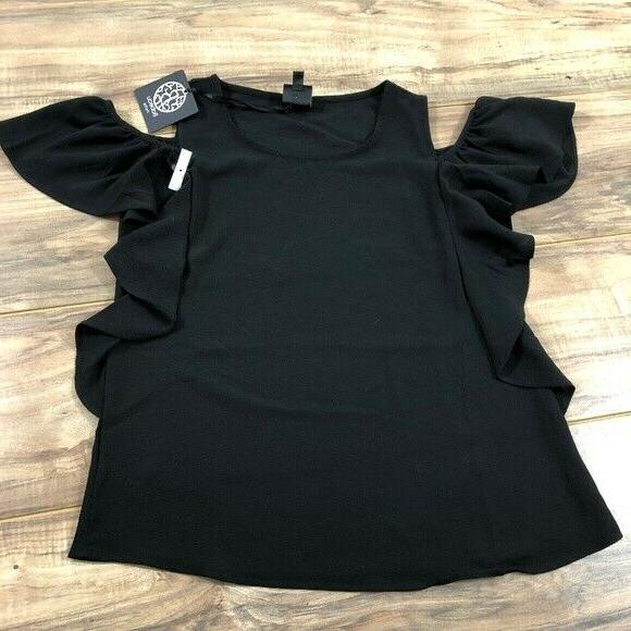 Bobeau Cold Sleeve Top Black