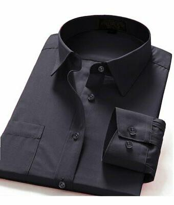 Dress Shirts Fit Long One Solid Shirt