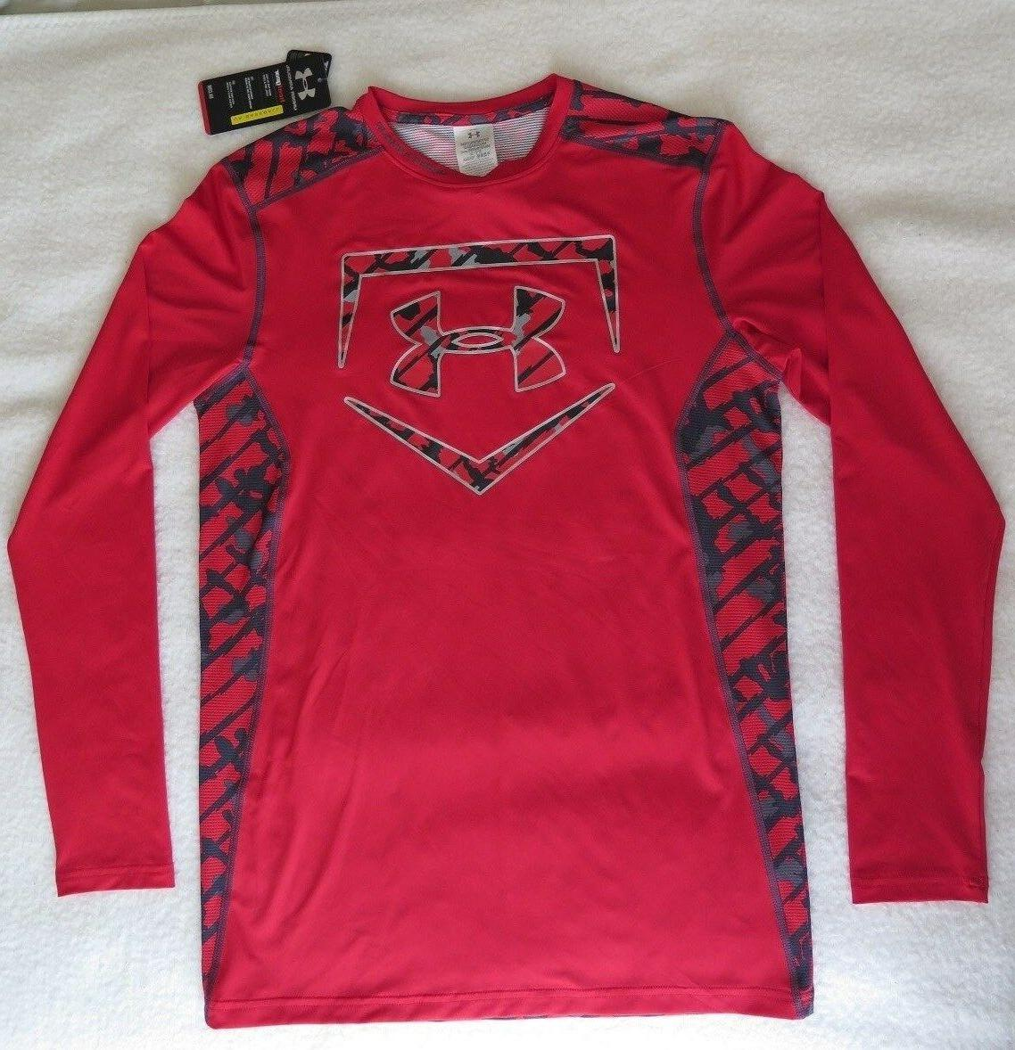 Under Armour Mens Fitted Undeniable Baseball Longsleeve Red