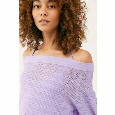 Free People Flowy Blouson Sleeves Cold Hacci Knit Top Purple M