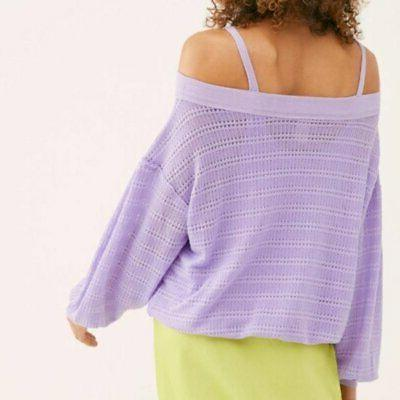 Free People Blouson Sleeves Cold Shoulder Hacci Knit Top M