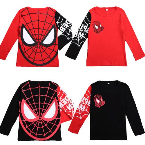 Kids Boys Baby Girls Spiderman T-shirt Long Sleeve Casual To