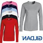 GILDAN LADIES FITTED LONG SLEEVE T-SHIRT PLAIN TOP 100% SOFT